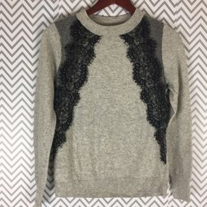 J. Crew color block and lace panel sweater
